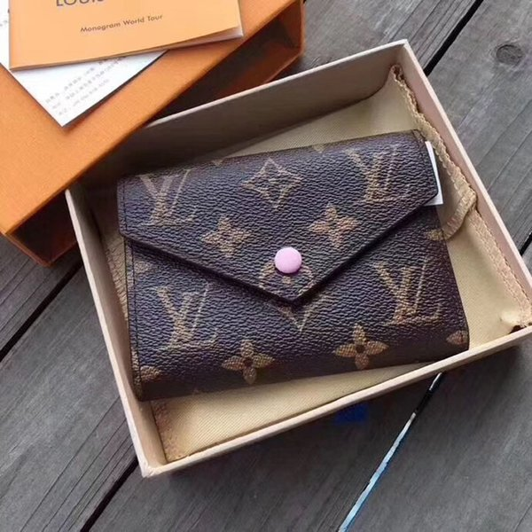Luxury Designer L Plaid Wallet For Women Emilie Button Short Wallets Good Quality Ladies V with Box Card Pouch Round Coin Purse #445
