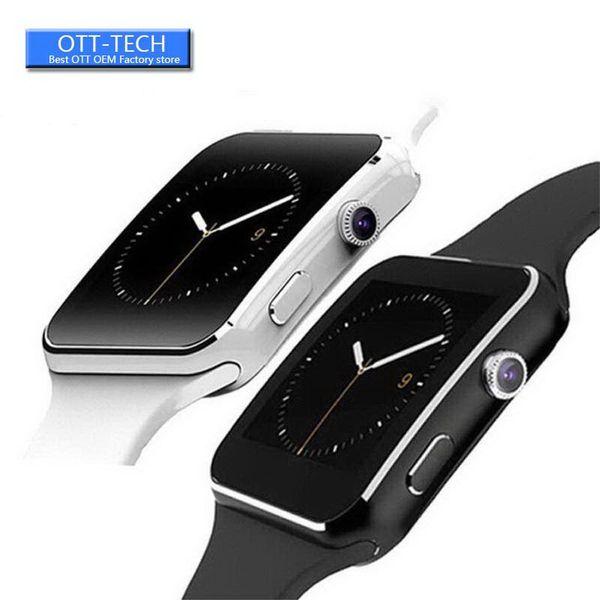 X6 intelligent Regarder l'écran courbe Smartwatches caméra Support de carte SIM Card slot TF Smartwatch pour Android smartphones Box