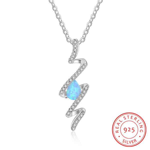 New European American creative design water drops blue opal wavy pendant sterling silver jewelry necklace fashion lady