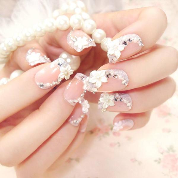 Flor 3D Fake Nails Rhinestone perla Arte Decorado uñas artificiales faux ongles etiqueta 24 UNIDS sexy para la fiesta de boda opción