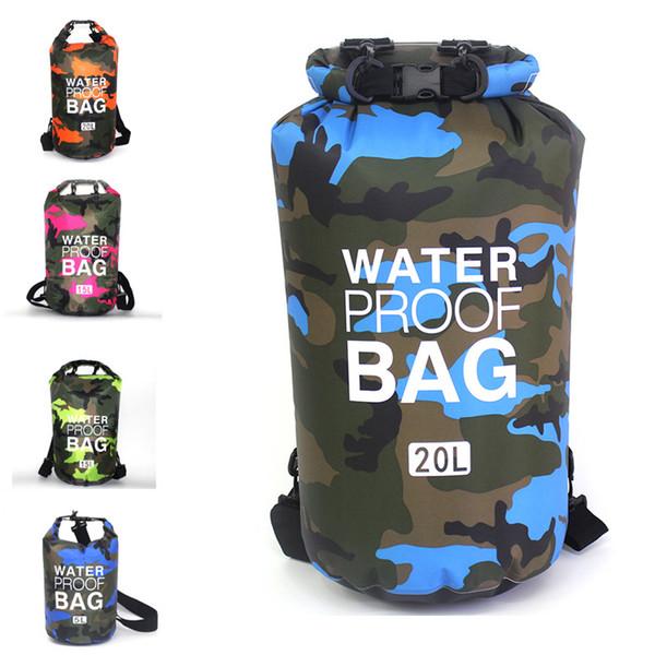 Hot Camouflage Floding Bag Waterproof Outdoor Bag Portable Waterproof Backpack Sack Storage Container Swimming Hiking Kayaking Boating M240Y
