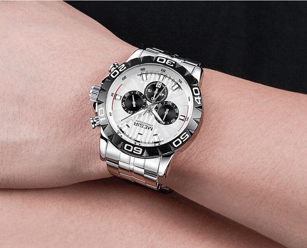 2019 New megir Watch Herren Leuchtend, GMT, Dekorativ, Kalender, Multifunktions Business Watch Stahlband Quarzuhr 2087