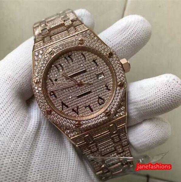 Full Diamond Men's Wrist Watches Rose Gold Diamond Stainless Steel Boutique Fashion Watches Arabian Dial Automatic Diamond Watch