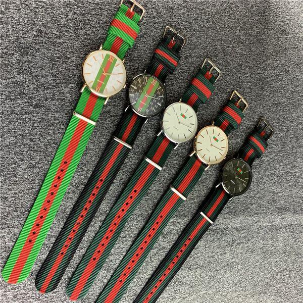 Novo Design Luxo Stripe relógios de quartzo Nylon Strap Watch Casual Homens Mulheres Preto Ribbon Complexo colorido Relógio de pulso Militar Assista B82703