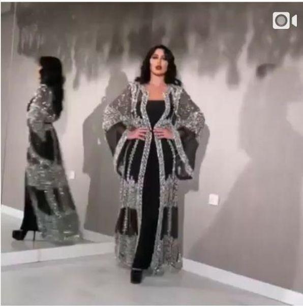 Evening dress Yousef aljasmi Labourjoisie Zuhair murad A-Line Jewel Long Sleeve Tulle Crystal Sequins Black Long Dress James_paul
