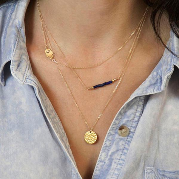 Femmes 3 couches chaîne Hamsa Fatima main mauvais œil Turquoise collier avec cadeau de charme de disque perlé pour elle