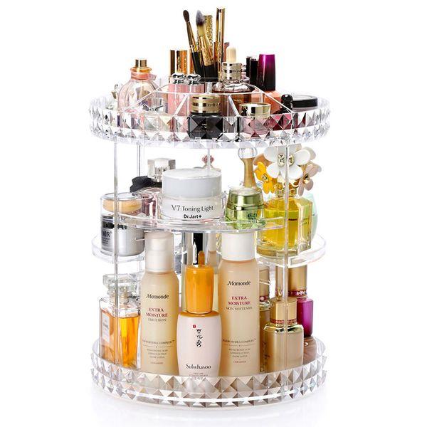 360 Degree Rotation Transparent Acrylic Cosmetics Storage Box Fashion Spin Multi-function Detachable Makeup Beauty Organizer J190718