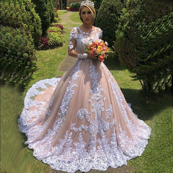 Modest Blush Pink Ball Gown Wedding Dresses Jewel Neck Long Sleeve  Appliques Bridal Gowns Plus Size Robe De Mariee Second Marriage Wedding  Dresses ...