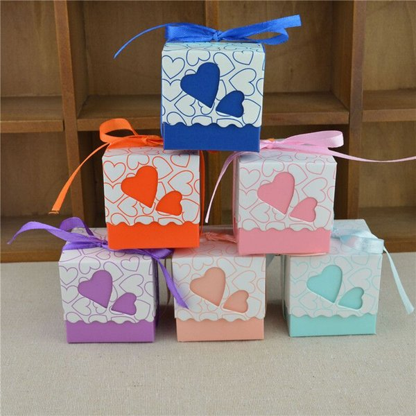 7 Color Wedding Birthday Candy Boxes Double Hollow Love Heart Design Laser Cut Wedding Party Favor Gifts Candy Bags With Ribbon Party Sup