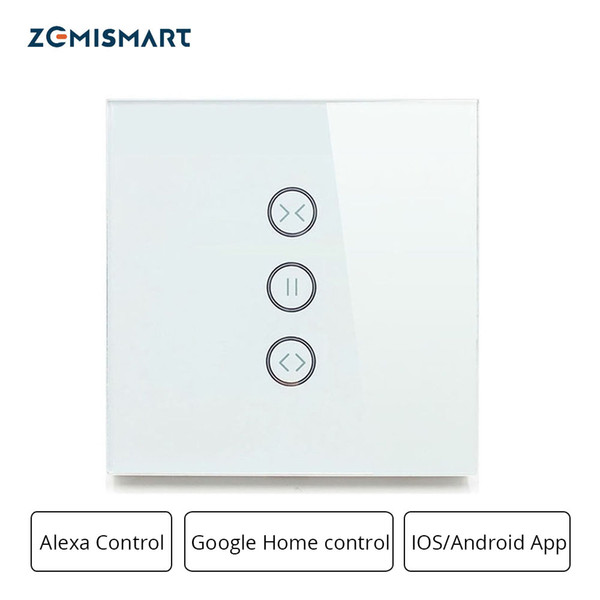 Zemismart Google Home Alexa Эхо-переключатель шторного выключателя для стандартного мотор-ролика Двигатель скольжения Wifi APP Siri Control