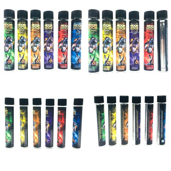 Più recenti Moonrock Cancella tubi di vetro vuoti 120 * 20mm Contenitore Bottiglia di vetro Tappi di sughero neri con sapori Adesivi Cartucce Confezione 1 lotto = 250 pezzi
