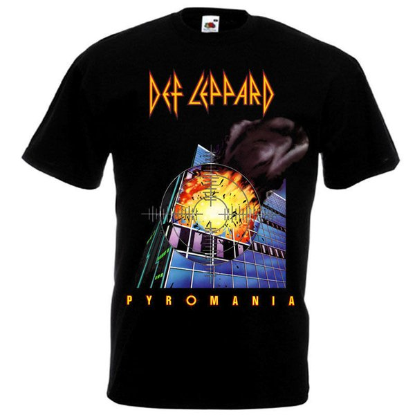 Def Leppard Pyromania T-shirt black poster all sizes S...5XL Size Discout Hot New Tshirt Suit Hat Pink T-shirt