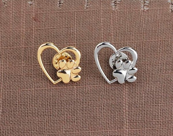 2019 2019 Hot Sale Silver Gold Color Love Heart Paw Lapel Pin Pet Paw Print  Pet Loss And Pet Memorial Pins Jewelry Dog Cat Lover Gifts From