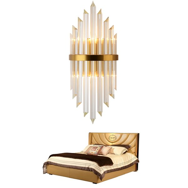 LED Luxury Gold Wall Lamp Modern Crystal Wall Sconce Lighting Fixture Living Room Bedside Stainless Steel LED Wall Light 90-265V