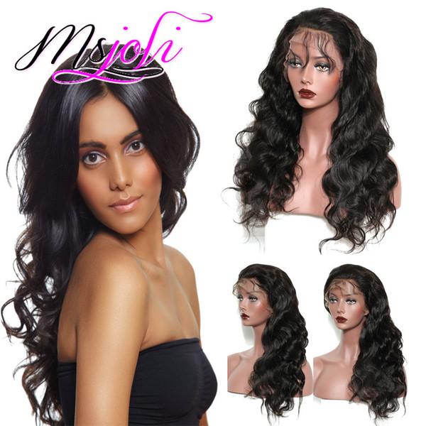 Onda do corpo Malásia 360 frontal do cabelo humano perucas completas do laço Pré arrancada peruana onda do corpo rendas frente perucas Remy cabelo