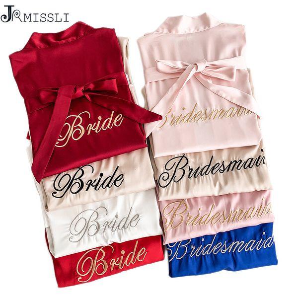 JRMISSLI robe kimono cetim pijama de casamento manto dama de honra irmã da mãe das vestes de noiva