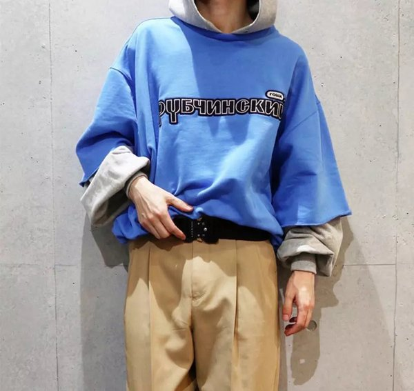 18FW Gosha Rubchinskiy Hoodies Fashion Fake two pieces Brand Hooded Pullover Sweatshirt Street Casual Oversize