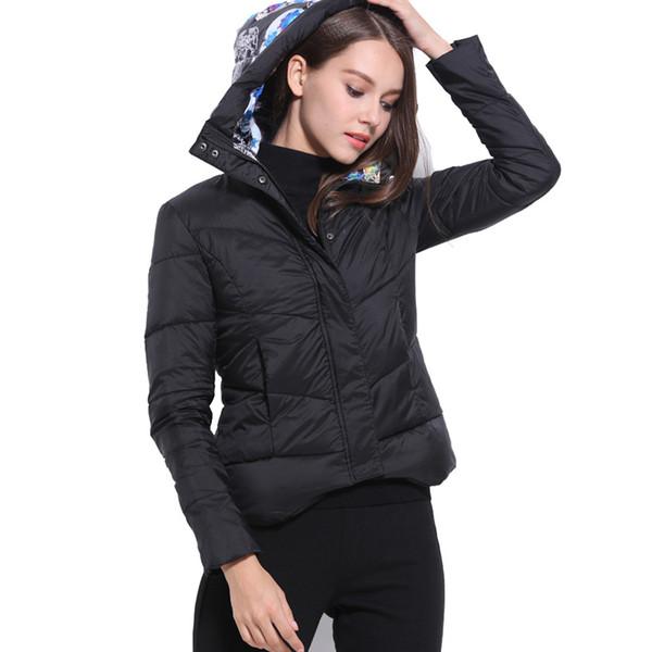 2016 Padrão da forma do inverno Brasão pato jaquetas femininas Imprimir com capuz para baixo Parkas 5 cores FS0284