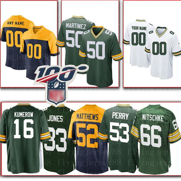 16 Jake Kumerow Green custom Bays Mens Jersey Packer 33 Aaron Jones 92 Reggie White 76 Mike Daniels 69 David Bakhtiari 50 Blake Martinez