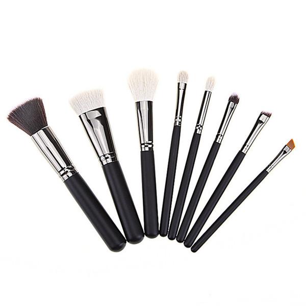8pcs Pink Premium Makeup Brushes Set Goat Hair Kabuki Powder Foundation Highlighter Eyebrow Eyeshadow Tapered Blending Brush