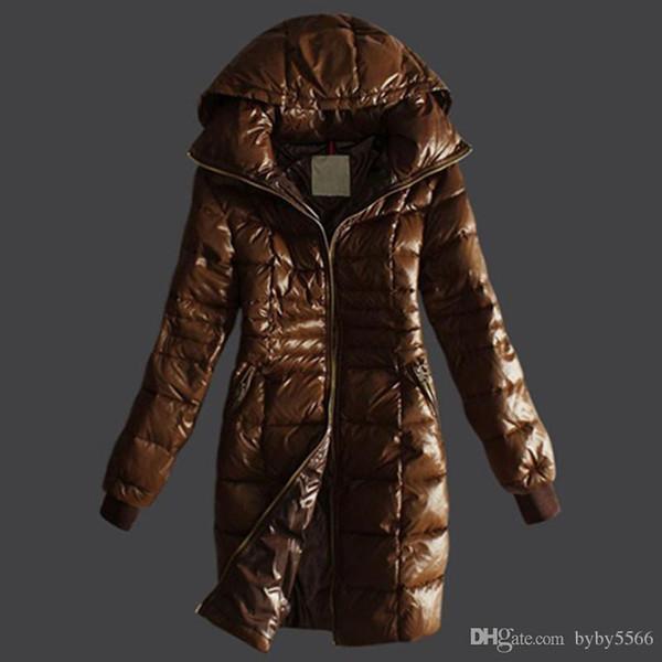 DHL Бесплатная доставка новый французский бренд женщин длинные зимние пуховики Женские тонкие женские пальто утолщаются меха куртка вниз пальто одежда с капюшоном парки