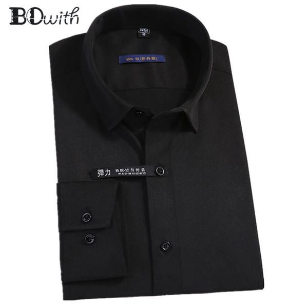 New Arrival Black Solid Shirts for Men Long Sleeved Shirt Male Social Business Dress Work Men Business Shirts Formal 4XL