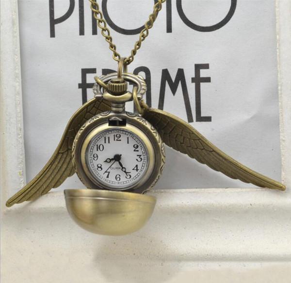 El más nuevo Harry Golden Snitch Reloj de Bolsillo de Bronce Antiguo Ala de la bola Colgante Collar Cadenas Potter Joyería de Moda Aficionados Regalo