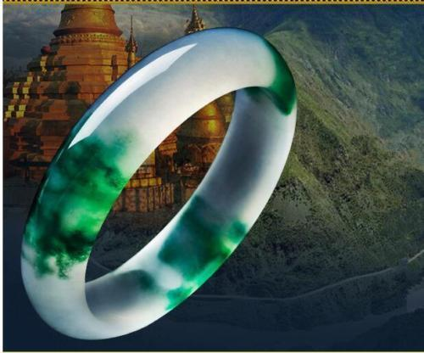 Fine Jewelry Certified Natural Beautiful White Green Jade Bangle Bracelet Handmade Free Shipping