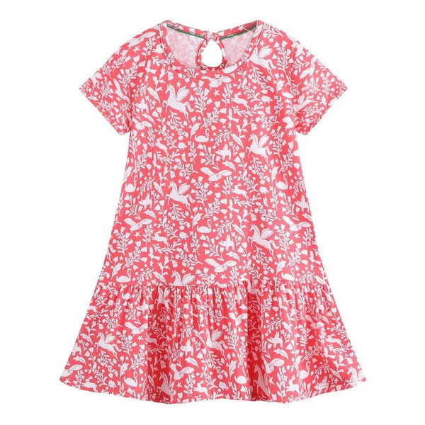 100% Cotton Floral Print Girls Dresses Comfortable And Fashion Easy Fitting Shift Dress Kid Designer Clothes Girls