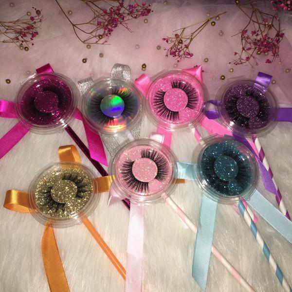Faux Mink Eyelashes 3D Lollipop Lash Cases Personalizado Logotipo Privado Adesivos Preço Barato Eye Lashes FDshine