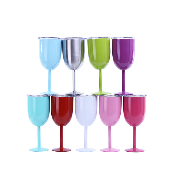 10oz Metal Goblet With Lid Stianless Steel Red Wine Glasses Cup Double Wall Insulated Travel Party Wine Mugs reFree Shipping