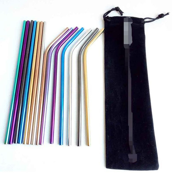"""top popular Stainless Steel Colored Drinking Straws 8.5"""" 9.5"""" 10.5"""" Bent and Straight Reusable Metal Straws Tool 10 colors OD 6MM 8MM choose Home Party 2021"""