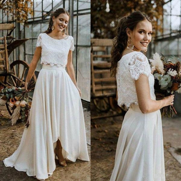 2020 Two Pieces Beach Wedding Dresses Jewel Neck High Low Short Sleeve A Line Bohemian Wedding Gowns Sweep Train Vestidos De Novia