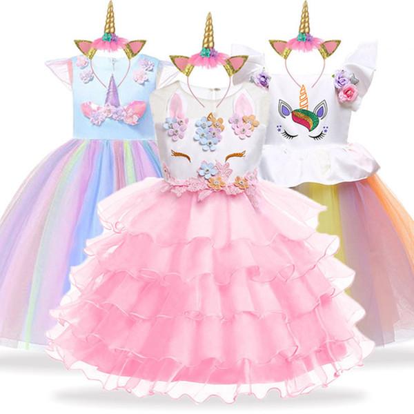 Unicorn Party Girls Toddler Kids Christmas Dresses Elegant Princess Dress Children Costume Cinderella Snow White Dress 3-10t MX190724