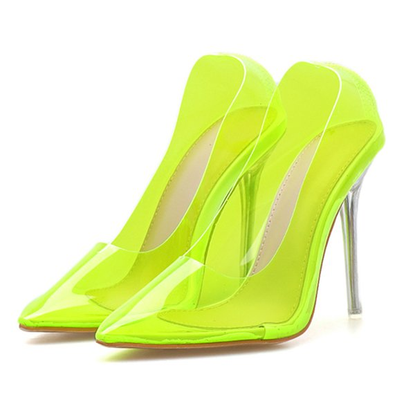best value cheap for sale aliexpress 2019 Summer Fashion Women 10cm High Heels Female Neon Yellow Prom Pumps  Lady Transparent Stiletto Heels Sexy Shoes YBLY 40 Best Shoes Stacy Adams  ...
