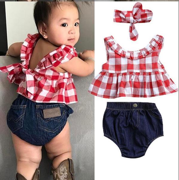 2018 Yaz bebek kız giyim seti Ekose Etek Tişört Tops + Denim Kısa Olgunlaşanlar Kafa bebek kız giysileri Yenidoğan Kıyafetleri Y18120303