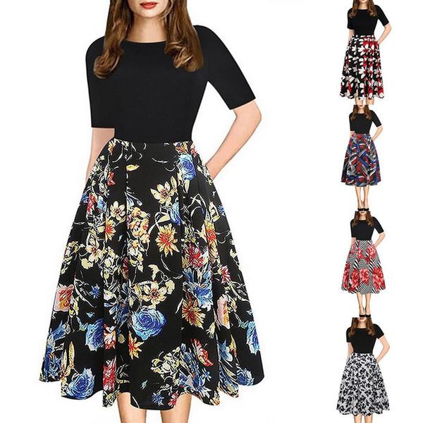 Mulheres elegantes em torno do pescoço manga curta spliced floral impresso vestido