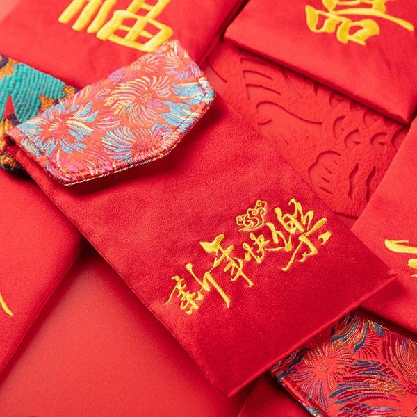 Уникальный Ткань Красный Конверт С Благословить Личность Красный Мешок Для Нового Года Портативный Большой