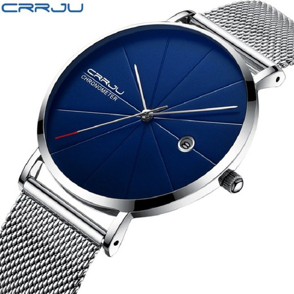 CRRJU Watch 12 Color 2216 New Mesh Steel Waterproof Luxury Casual Men Watches Fashion Display Date Quartz Wristwatch Clock