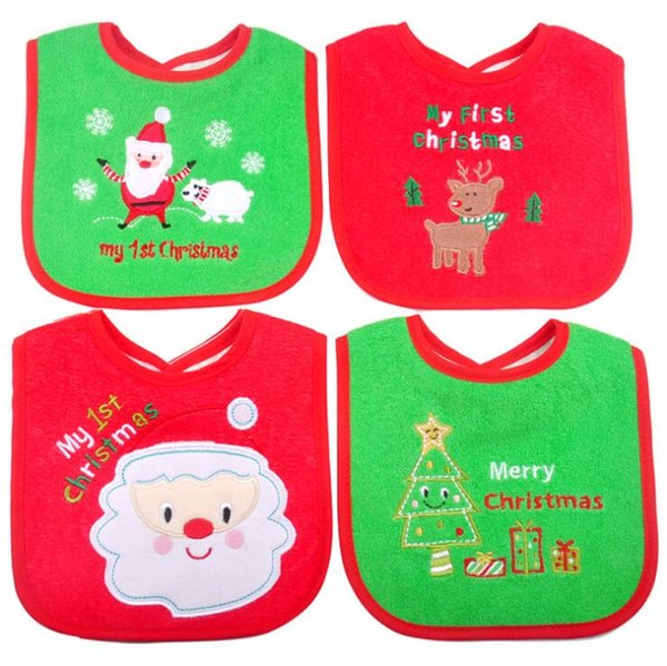 Christmas Baby Bibs Cute Cartoon Embroidered Toddler Saliva Towel Infant Feeding Burp Cloths Home Clothing OOA5989