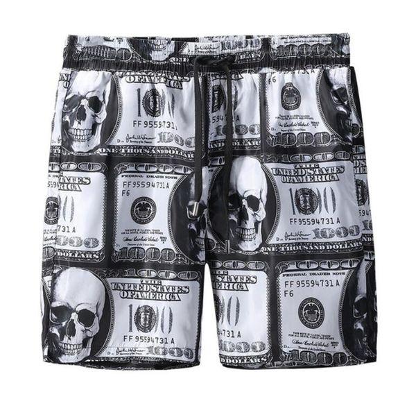 Dollor print Pantaloncini uomo bicchierini stampati sport tempo libero pantaloncini alta qualità Pantalone spiaggia costumi uomo Bermuda maschili Surf Vita uomini Swimwear