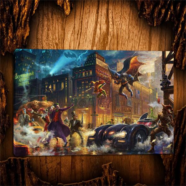 The Dark Knight Rettet Gotham City, 1 Stück Leinwand Wandkunst Ölgemälde Wohnkultur (ungerahmt / gerahmt) 16x24