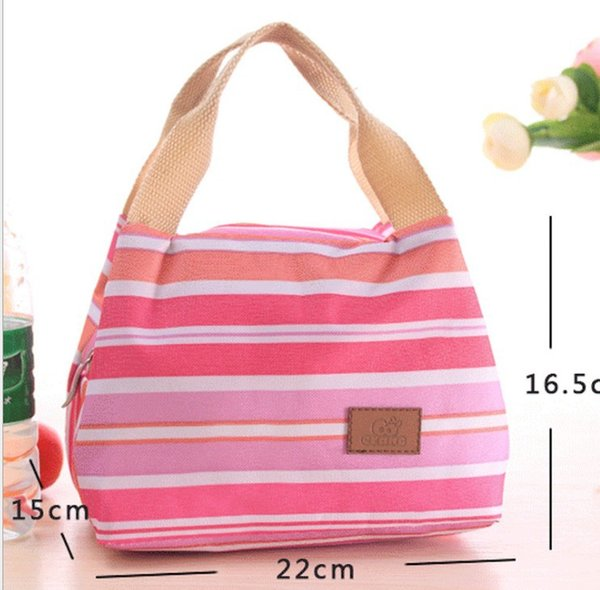 300pcs Canvas Stripe Picnic Lunch Drink Thermal Insulated Cooler Tote Bag 450ML Portable Carry Case Lunch Box 6 Colors lin4888