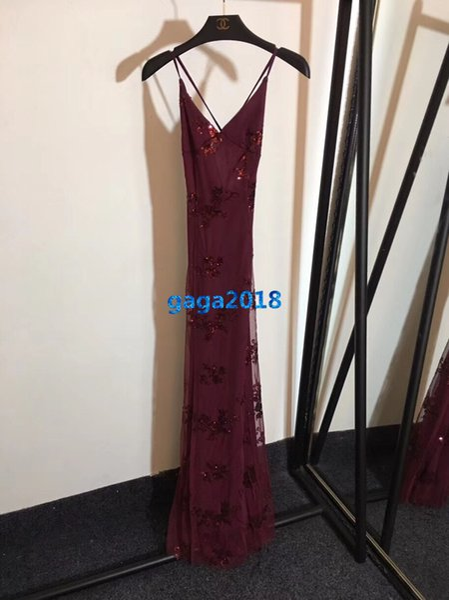 haut de gamme femmes filles strappy slip robe maille paillettes motif flore sans manches une ligne sirène sexy jupe longue design de mode luxe nouvelles robes