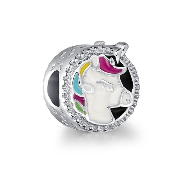 Unicorn Ponies Big Hole Alloy Cute Oil Painting Beads Loose Beads DIY European Charm Bracelet Jewelry gift