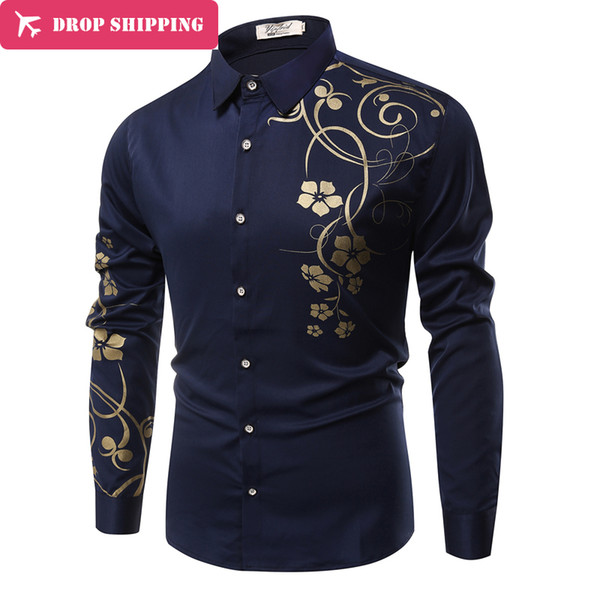 Dropshipping 9 Colors Mens Dress Type Slim Long Sleeve Dressed Camisa Masculina Casual Shirts Y190415