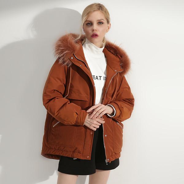 women winter natural real raccoon fur hooded white duck down coat ladies plus size loose coffee black short down coat 2018
