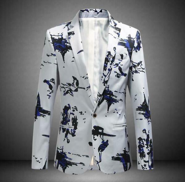 Cuello de solapa de la moda de los hombres con un botón Abrigos florales Casual Chaqueta Blazer