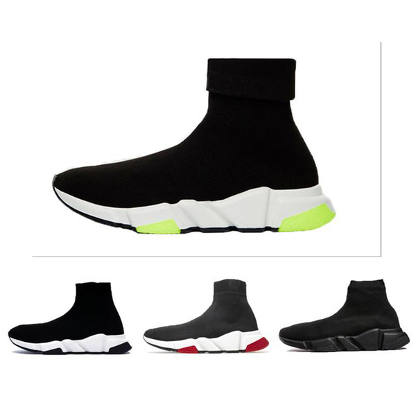 2019 casual Shoes Speed Trainer Oreo Triple Black Green Flat Fashion Socks Boot Men Women Sneakers Without Box Dust Bag