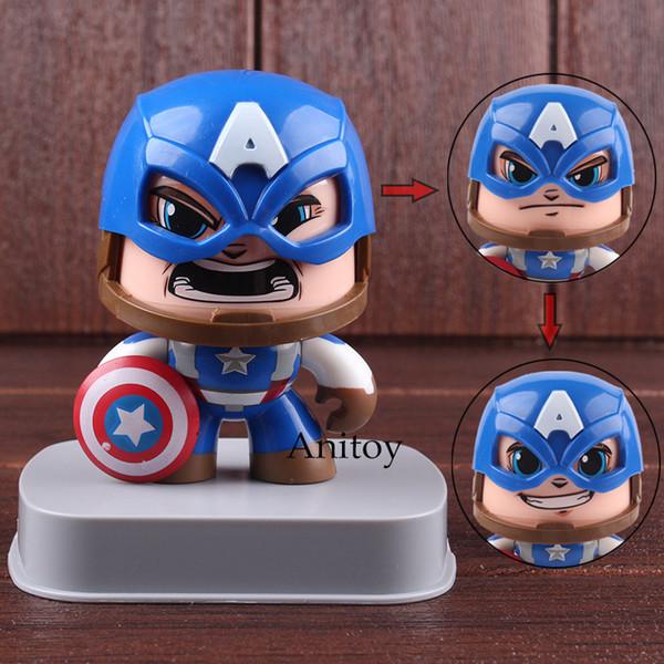 Marvel Superhero Hulk Spiderman Captain America Figure Action PVC Cute Change Face Car Decoration Collectible Model Toy